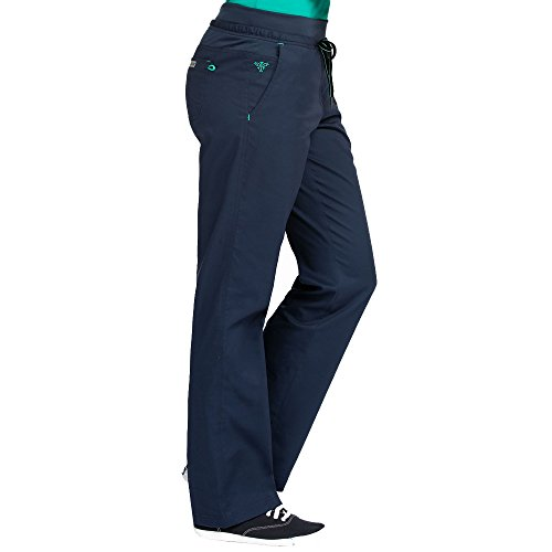 Med Couture Signature Yoga Drawstring Scrub Pant for Women, New Navy/Spearmint, X-Small Tall ()