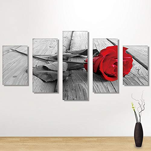 Freeby 5 Pieces Canvas Print Wall Art - Black and White Red Rose Floral on Wooden Panel Paintings Artwork Home Decorations(No Frame)