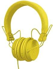 Reloop RHP-6 - DJ- en lifestyle-hoofdtelefoon met afgestemd geluid, lichte constructie en veilige pasvorm, voor smartphones (Apple iPhone, Android) tablets, iPods, Mac en PC, (geel)