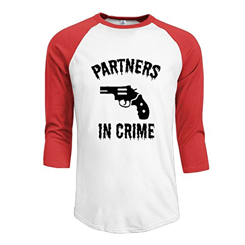 Men's Partners In Crime Athletic Baseball Jersey Shirts 3/4 Sleeve
