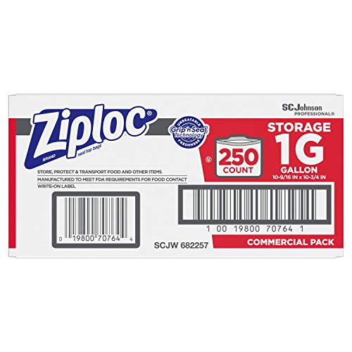SC Johnson Professional ZIPLOC Storage Bags, For Food Organization and Storage, Double Zipper, Gallon, 250 Count