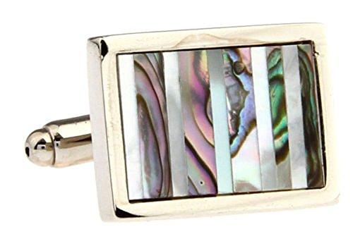 Mens Executive Cufflinks Designer East Coast Rectangle Repp Stripe Abalone Shell Cuff (Abalone Designer Cufflinks)