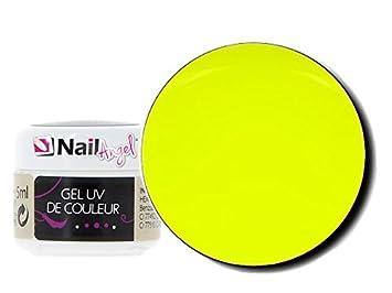 Gel uv de couleur , couleurs Jaune fluo Yellow Pop , Manucure faux ongles  nail art