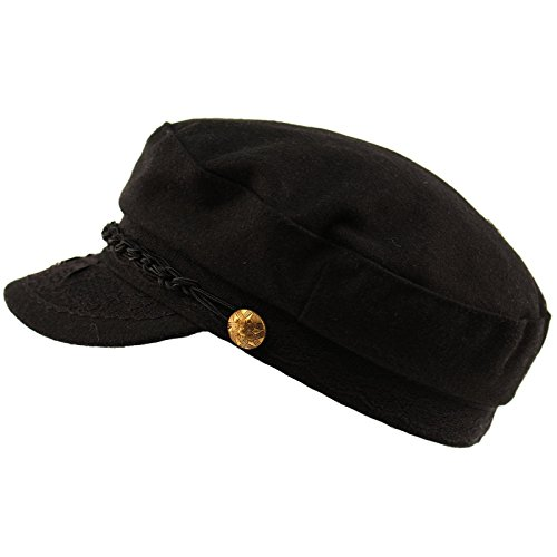 Men's Greek Fisherman Sailor Fiddler Winter Wool Driver Hat Flat Cap S/M ()