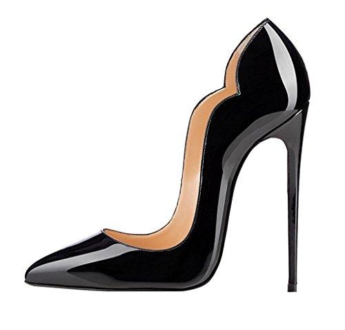 Edefs Bombas Señoras Top Zapatos De Punta De 120 Mm De Alto Talón Zapatos De Vestir De Tacón Negro Cerradas Precio de corte avhz9xI