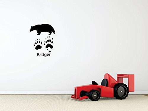Design with Vinyl 1 Pro 05 Decor Item Badger paw Prints Wild Outdoor Animal Wall Decal Peel and Stick Sticker Mural, 10 x 15-Inch, Black