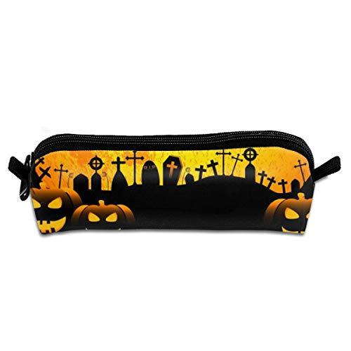 JiangHu Halloween Bats Moon Pencil Case Makeup Pen Pouch Travel Storage Bag Durable with Zipper]()