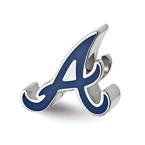 14k Mlb Earrings - MLB Atlanta Braves Sterling Silver Atlanta Braves Enameled Bead Size One Size