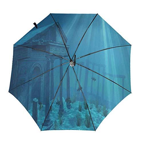 Automatic Open Close tri-fold Windproof Travel umbrella,Sunlight Over Ruins Of A Former Civilization Deep Undersea Atlantis World Nautical Picture Print,InsidePrint