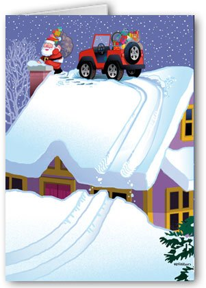 Christmas Jeep.Four Wheeling Delivery Christmas Card 18 Cards Envelopes
