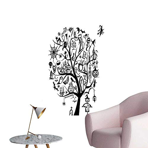 Wall Decoration Wall Stickers Sketch Style Halloween Tree with Spooky Objects and Wicked Witch on Print Artwork,32