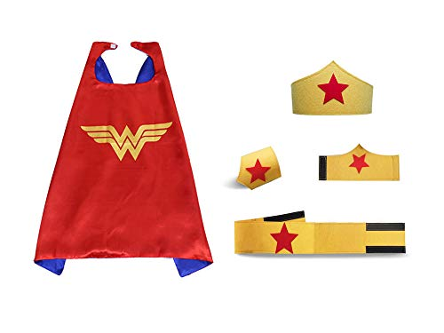 Kids Wonder Girls Capes Cosplay Costume Birthdy Party Dress Up DIY Mask 5pcs ()