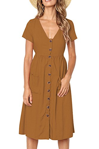 Boosouly Women Button Down Summer Dresses Beach V Neck Short Sleeve Casual Short Dress Khaki ()