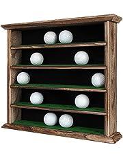 J JACKCUBE DESIGN 30 Golf Ball Display Case Wall Rack Cabinet Holder Shelf, No Door, Rustic Wood Wall Mount- MK802B