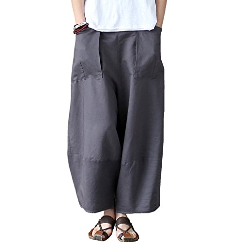 Aeneontrue Women's Patchwork Wide Leg Pants Trousers with Big Pockets Gray M