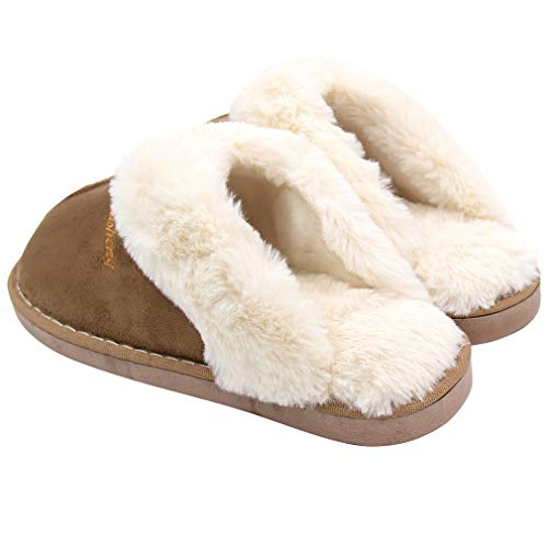 Indoor Foam Memory Slippers Warm Fur ALOTUS Outdoor Unisex Khaki Soft Thick wBfU8q