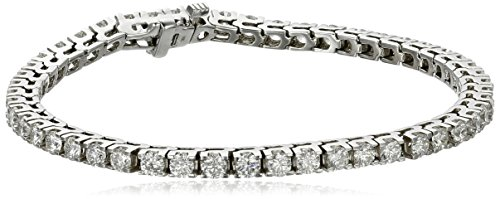 IGI Certified 18k White Gold 4-Prong Diamond Tennis Bracelet (5.0 cttw, H-I Color, SI1-SI2 Clarity), 7'' by Amazon Collection