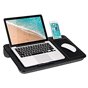 LapGear Home Office Lap Desk with Device Ledge, Mouse Pad, and Phone Holder – Black Carbon – Fits Up to 15.6 Inch Laptops – Style No. 91588