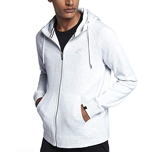 (NIKE Mens Sportswear Legacy Full Zip Hoodie (Pure Platinum/Heather, Large))