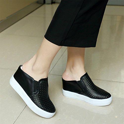 verano alto de con black grueso sandalias mitad pendiente femenino de El y tamaño tacón fqBId
