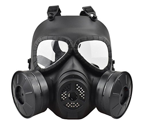 Jadedragon Tactical Paintball Dummy Gas mask Full Face Eye Protection skull Skeleton Mask With double exhaust fan for Cosplay Protection Zombie Soldiers Halloween (Black) ()