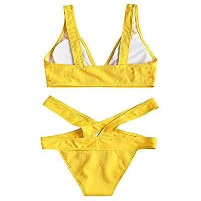 nikunLONG Women Tankini Soild Push-Up Padded Bra Beach Bikini Set Splicing Bohemian