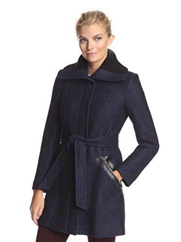 Via Spiga Women's Belted Ribbed Collar Coat, Black/Purple, 8 US