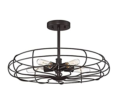 Trade Winds Lighting TW60036ORB Industrial Vintage Metal Cage Loft Close to Ceiling Semi-Flush