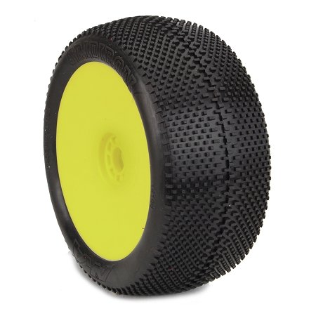 AKA Products 14113VRY Racing Truggy Evo Gridiron Super Soft Pre-Mounted Yellow Tire, Scale 1:8 Soft Pre Mounted Tire