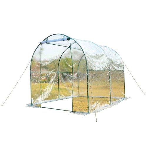 Outsunny Large Steel Frame Walk in Dome PVC Greenhouse - Transparent
