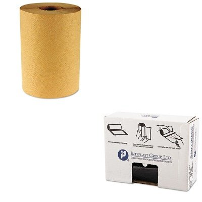 KITBWK6256IBSVALH4048K22 - Value Kit - Inteplast 40-45 Gallon Can Liner, Black (IBSVALH4048K22) and Boardwalk 6256 Natural Hardwound Roll Paper Towels, 8quot; x 800' (BWK6256)