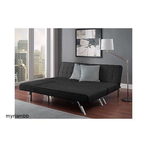 amazon    emily futon with chaise lounger super bonus set black  kitchen  u0026 dining amazon    emily futon with chaise lounger super bonus set black