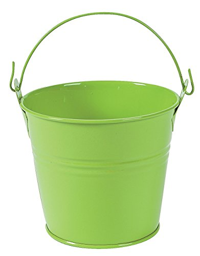 Lime Green Pails with Handles (12 Pack) Metal. - Spring & Party (Green Christmas Mini Centerpiece)