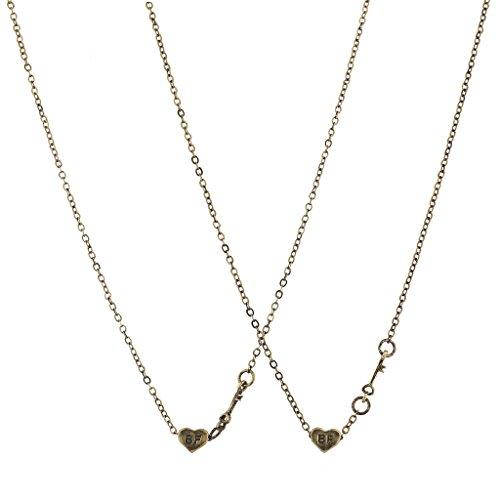 - Lux Accessories Burnished Gold BF Best Friend Heart Mini Charm Necklace Set 2pcs