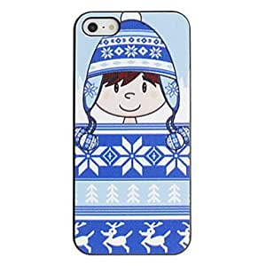 BuW Cartoon Girl in Cotton Hat Pattern PC Hard Case with Black Frame for iPhone 5/5S, iphone 5s cases, iphone 5 cases, iphone cases, iphone 5s case, 5s cases, iphone 5s covers