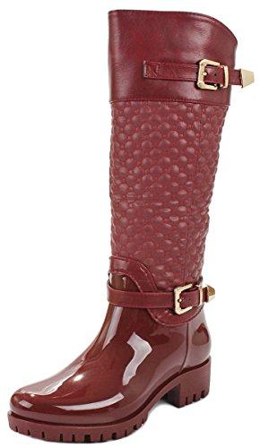 Fashion Zip Ankle Boots Lined Women JJF Lace Shoes Winter Side Up Fur Buckle Faux Wine Rain gEOqz