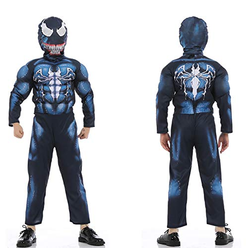 Boys Venom Blue Spiderman Costume Kids Cosplay Spandex Bodysuit 3D Costume Halloween -