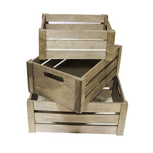 Admired By Nature ABN5E083-SG Set of 3 Rectangle Storage Gift Wood Crates, Stain Grey (Wooden Crate Finished)