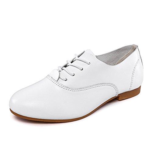 Zapatitos blancos/Zapatos de cordones de mujer/ zapatos planos suaves al final de/Zapatos de mujer casual A