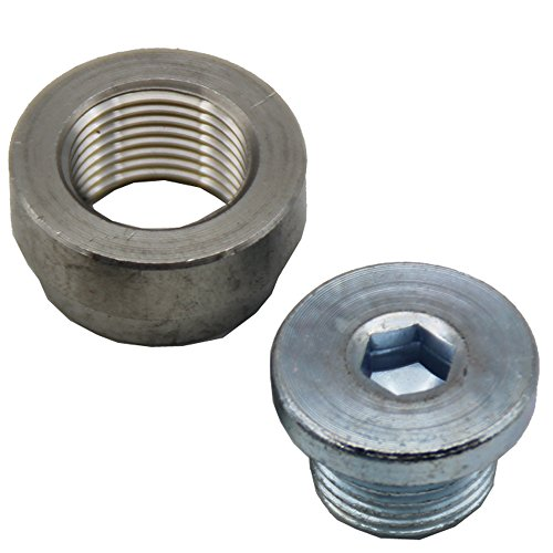 (LEDAUT M18X1.5 O2 Oxygen Sensor Stepped Mounting Bung And Plugs (1 Bungs/1 Plugs) Oxygen Sensor Fittings Weld Bung)