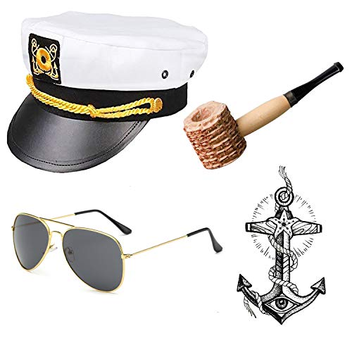 Yacht Captain & Sailor Costume Accessories Set - Hat,Corn Cob Pipe,Aviator Sunglasses,Vintage Anchor Temporary Tattoo (OneSize, C1) -