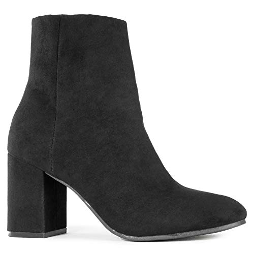 - Women's Round Toe Chunky Heeled Side Zip Slim Fit Ankle Booties Black SU (6)