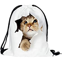 Cevinee™ Portable Gym Sack Pack Drawstring Backpack, Cute Animal Daily Pull String Bag, Lovely Kid's Shcool Bag - Cute Cat