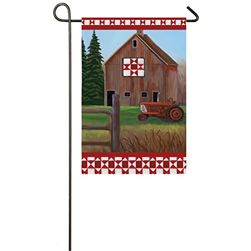 Evergreen Flag Quilt Barn Suede Garden Flag, 12.5 x 18 inche