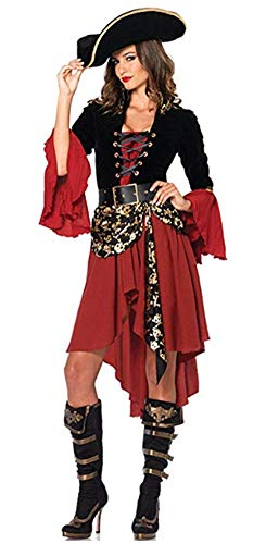 DOKER Women's Eye Candy - Spanish Pirate Adult Sexy Pirate Wench Halloween Costume - Pirate Vixen Red XL -