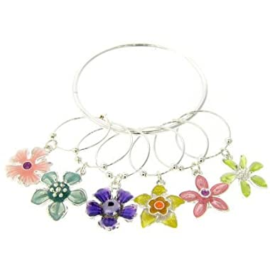 Wine Charms ~ Multi Flowers Wine Glass Charms Set of 6 (Wine Charm 021d 20)