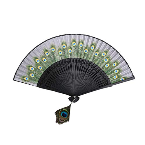 SOOTOP Bamboo Wood Hand Fan,Silk Folding Fan Hand Held Folding Fan Chinese/Japanese Vintage Retro Style Oriental Handmade Music Festival, Club, Event, Party Summer Gift