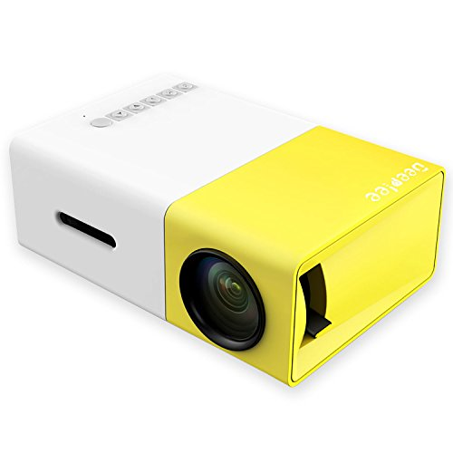 DeepLee Mini Projector, DP300 Portable LED Projector support PC Laptop USB Stick USB/SD/AV/HDMI Input for Video/Movie/Game/Home Theater Video Projector- Yellow by Deeplee