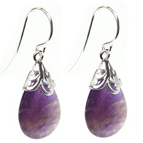 (Natural Amethyst Purple Teardrop Sterling Silver Filigree Flower Bail and French Hook Earwires Dangle Earrings)
