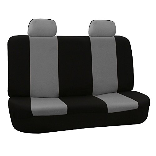 FH Group FB050GRAY012 Gray Fabric Bench Car Seat Cover with 2 Headrests ()